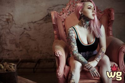 sexy girl with pink hair smoking weed | cannabis community | weed girls