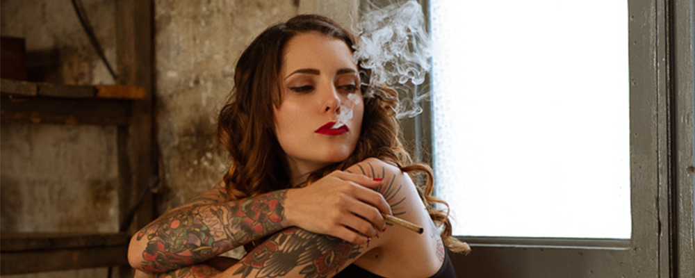 girl smoking a fat joint