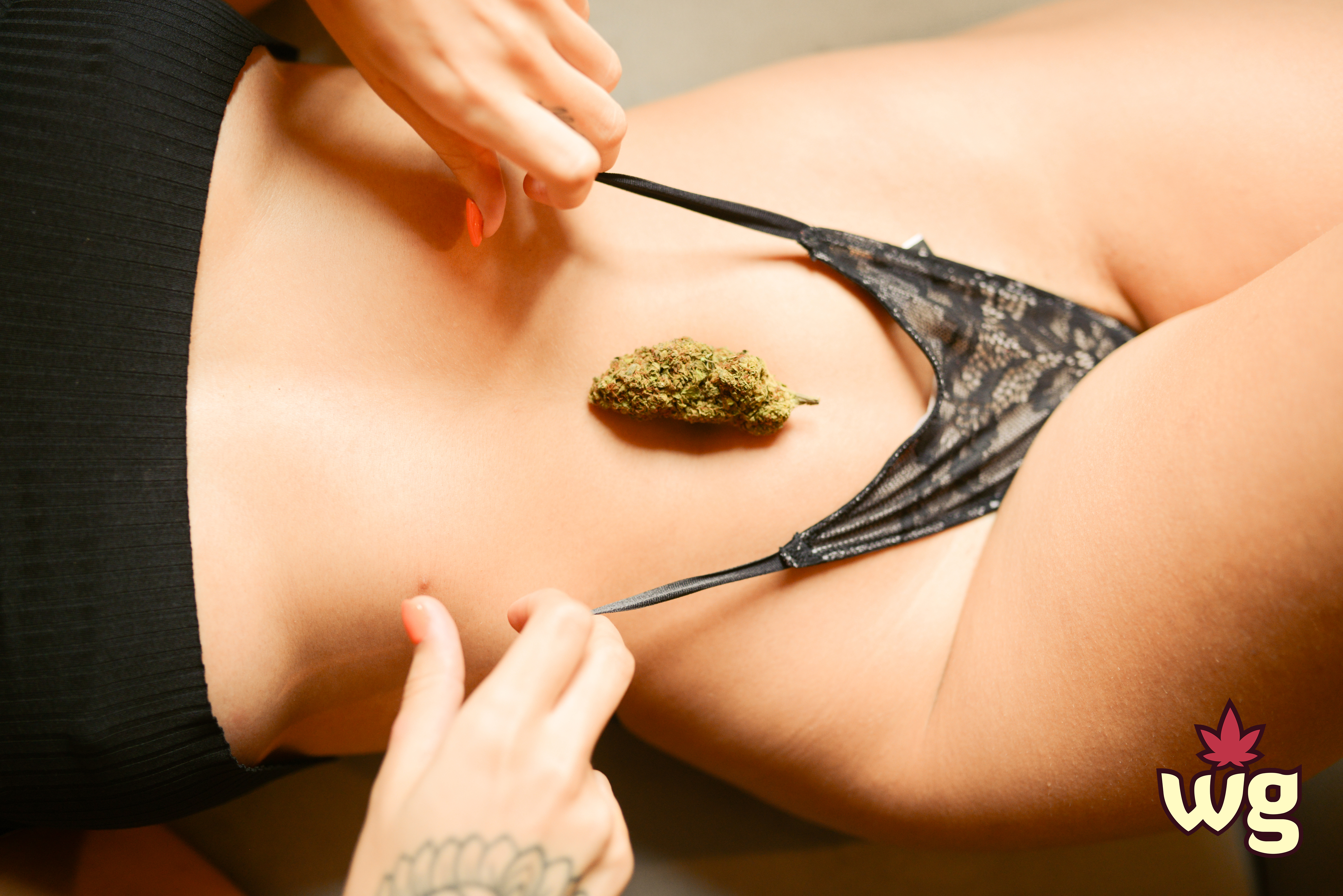 hot tattoo woman wearing sexy black underwear | cannabis buds | weed girls